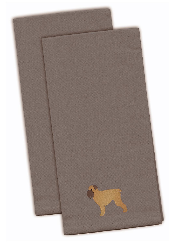 Brussels Griffon grijs geborduurd keuken handdoek Set van 2