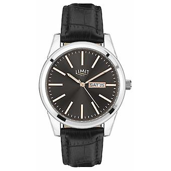 Limit | Mens Black Leather Strap | Grey Dial | Silver Case | 5751.01 Watch