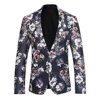 Allthemen Blazers Slim Elegant Floral Prints Costume Jackets Dîner Chic Coats Imprimé Suit