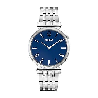 Bulova Regatta Blue Dial Silver Stainless Steel Quartz Mens Watch 96A233