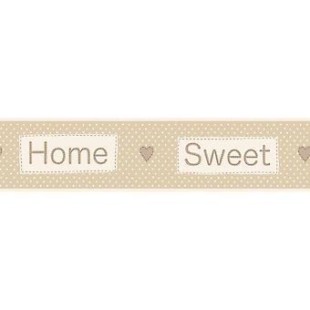 Fun4Walls hjem søde hjem tapet grænse selvklæbende beige creme polka prikker