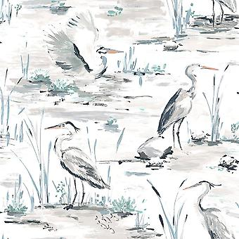 Cranes Reeds Floral Wallpaper White Grey Yellow Watercolour Paste Wall Holden
