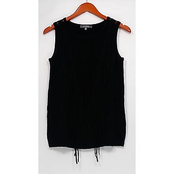 Lisa Rinna Collection Sweater Sweater Knit Tank w/ Fringe Black A277314