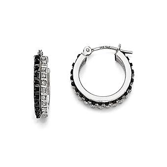 14k White Gold Polished Diamond Fascination B and W Dia. Round Hinged Hoop Earrings - Measures 15x4mm