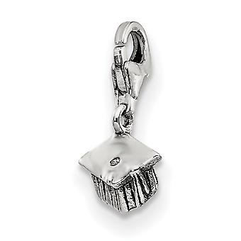 925 Sterling Silver Polished Reversible Antique finish Fancy Lobster Closure Reflections Graduation Cap Click-on Bead Ch