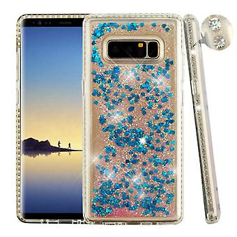 Diamante Frame (Transparent Clear)/Quicksand (Dark Blue Hearts) Glitter Hybrid Protector Cover  for Galaxy Note 8