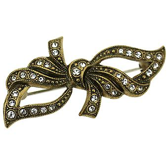 Cavendish French Victorian Style Elegant Flowing Crystal and Gold Bow Brooch