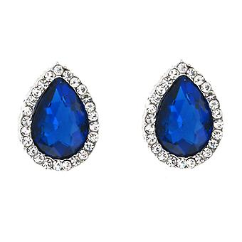 Silver & Victorian Royal Blue Crystal Teardrop Stud Earrings