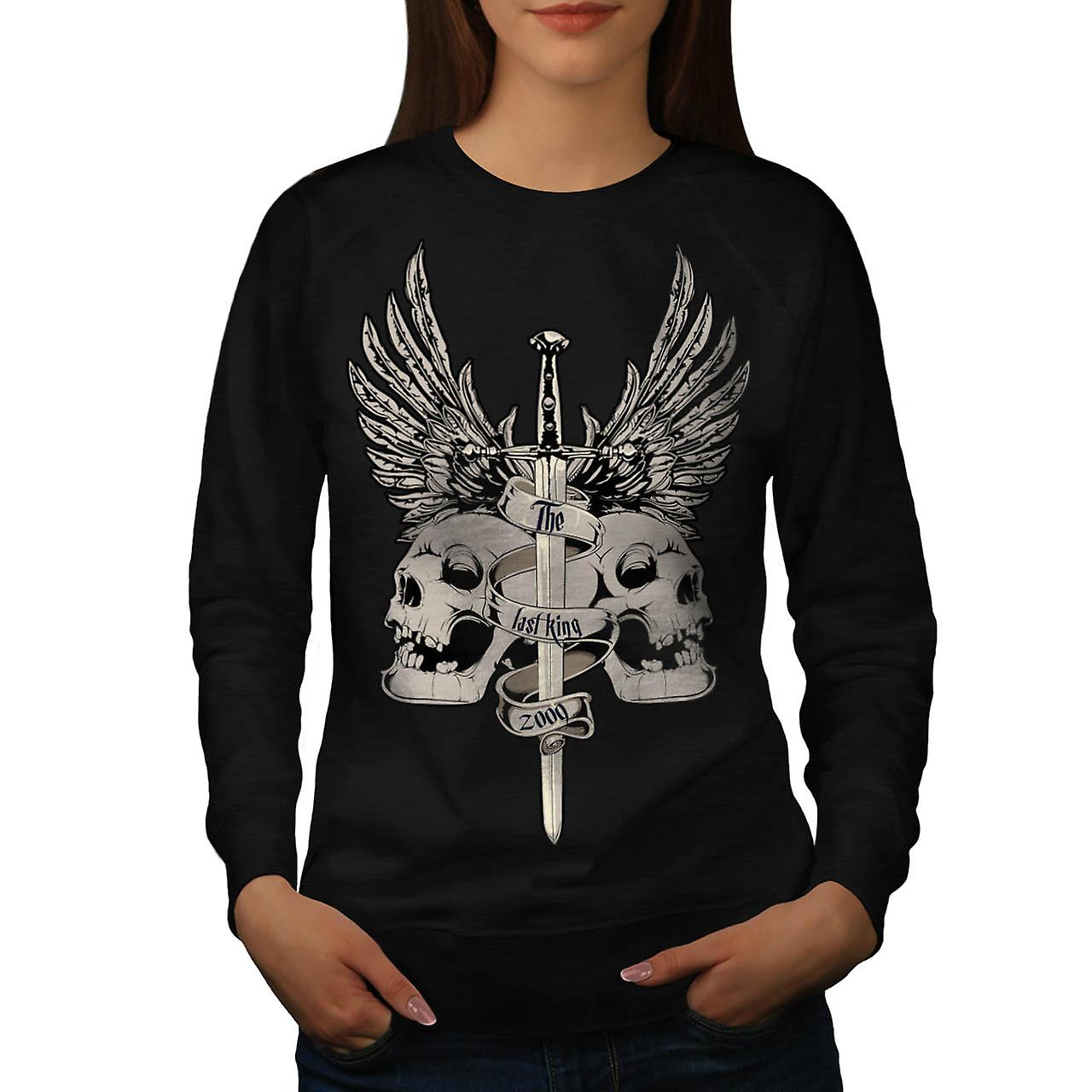 The Last King Leader Skull Rule Women Black Sweatshirt | Wellcoda