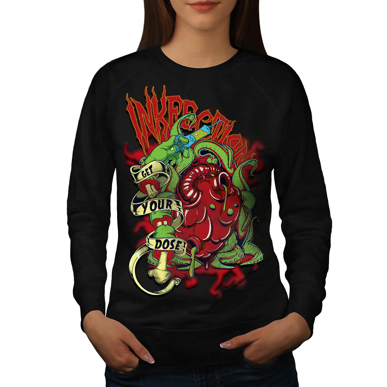 Ink Infection Tattoo Death Dose Women Black Sweatshirt | Wellcoda