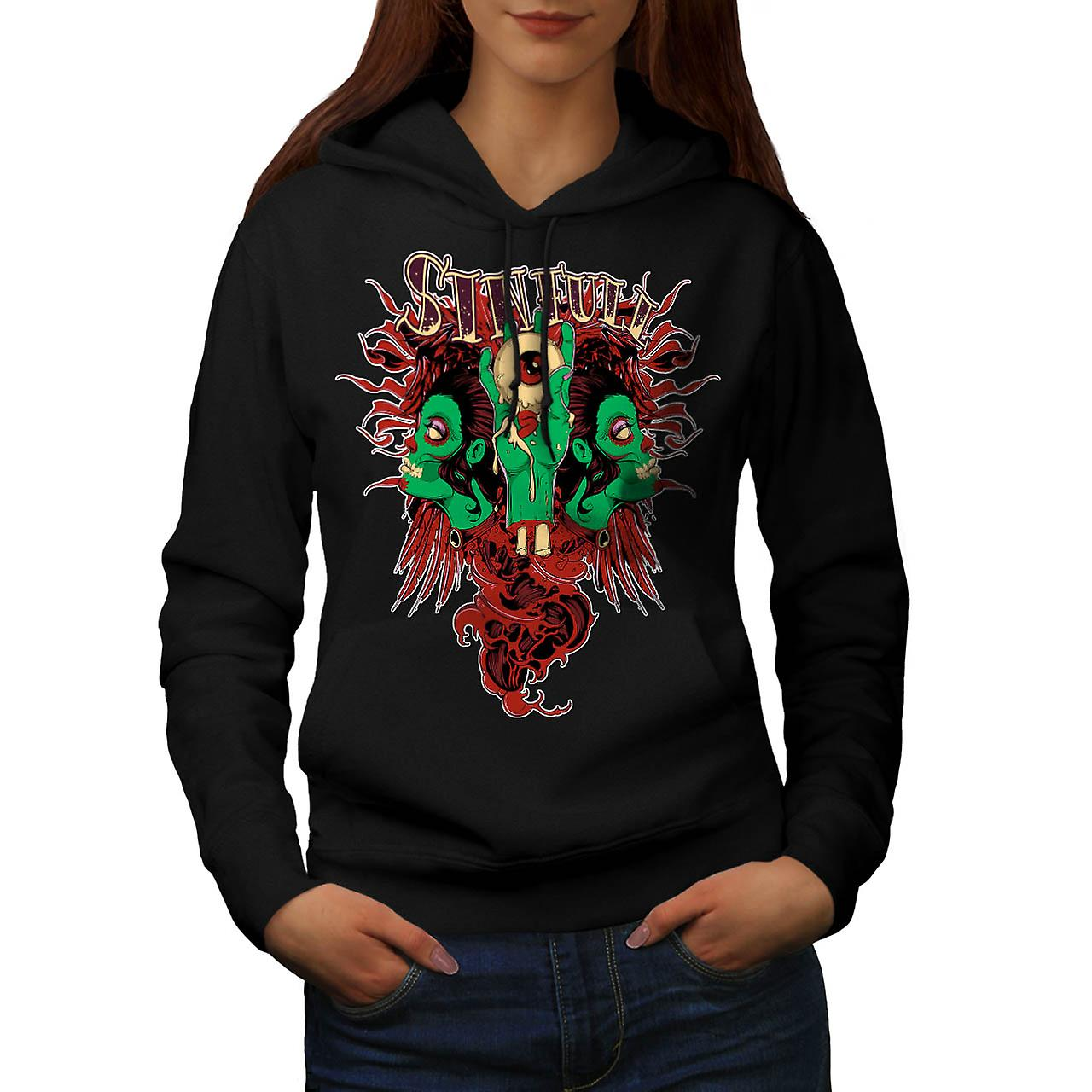 Sinful Monster Head Devil Eye Women Black Hoodie | Wellcoda