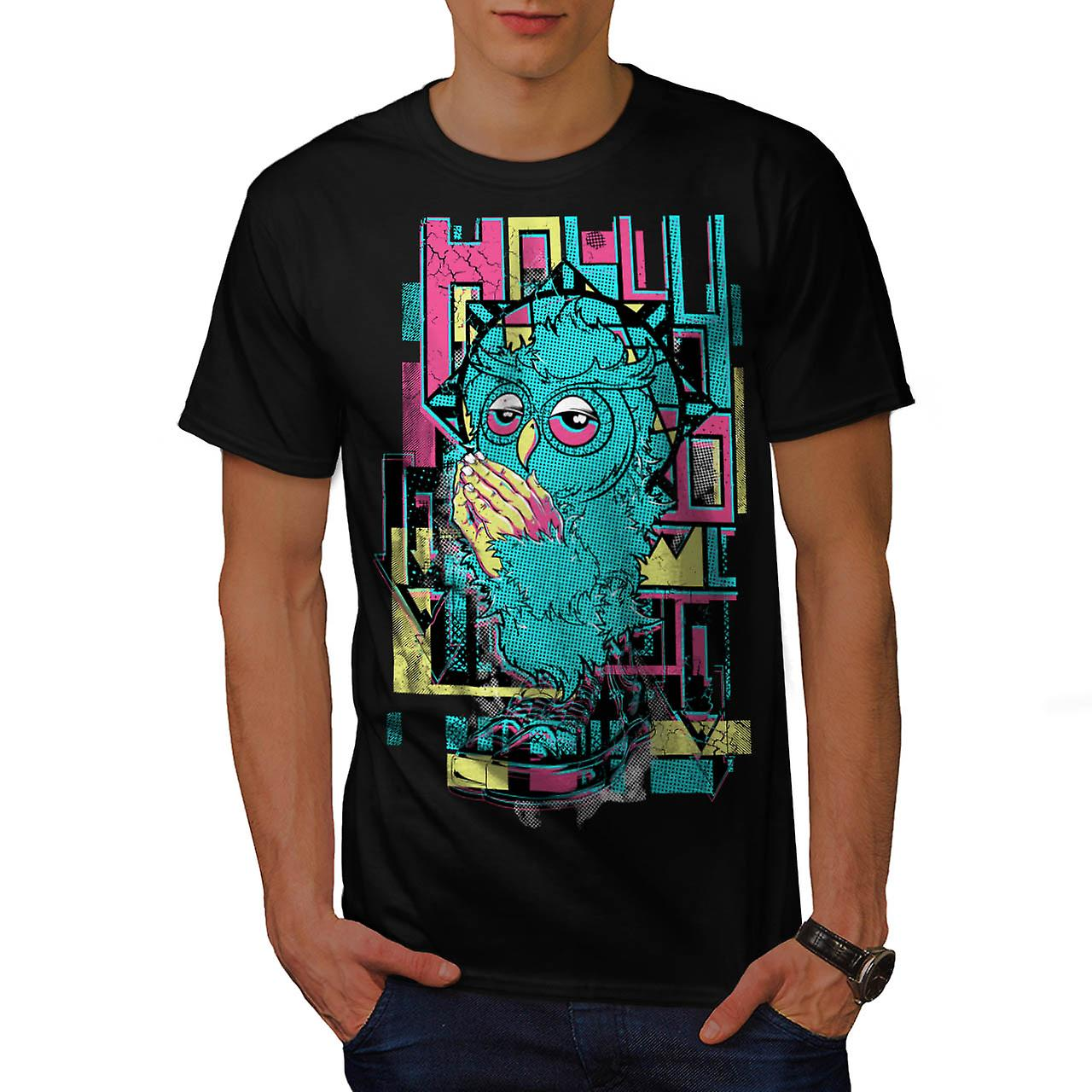 Holly Owl Funky Fashion Men Black T-shirt | Wellcoda