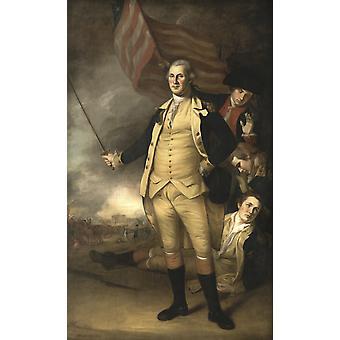 Questo dipinto di storia americana dell'annata del generale George Washington al Battaglia di Princeton originale è stato dipinto da Charles Willson Peale Poster stampa