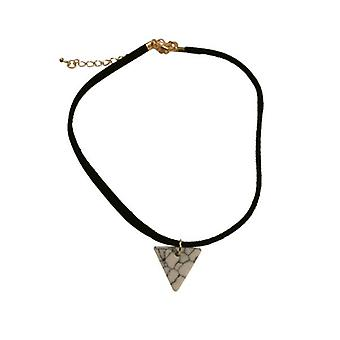 Minimalist statement choker necklace with white triangle