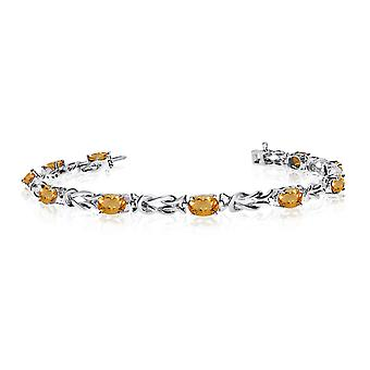 14K White Gold Oval Citrine Reef Knot Bracelet