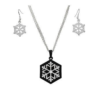 Stunning Rhinestone Snowflake Pendant & Earrings Set