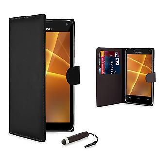 Book wallet case + stylus for Huawei Ascend P8 - Black