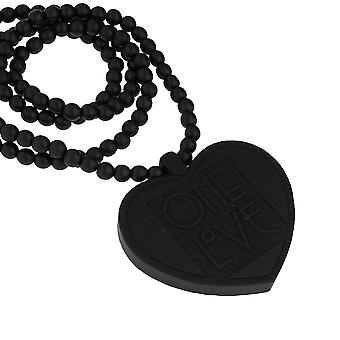 Wood style Bead Necklace - ONE LOVE black