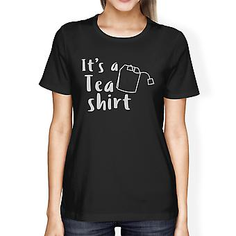 Het is een thee Shirt Womens zwart korte mouwen uniek Design Shirt