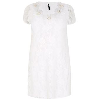 PAPRIKA White Lace Overlay Dress With Floral