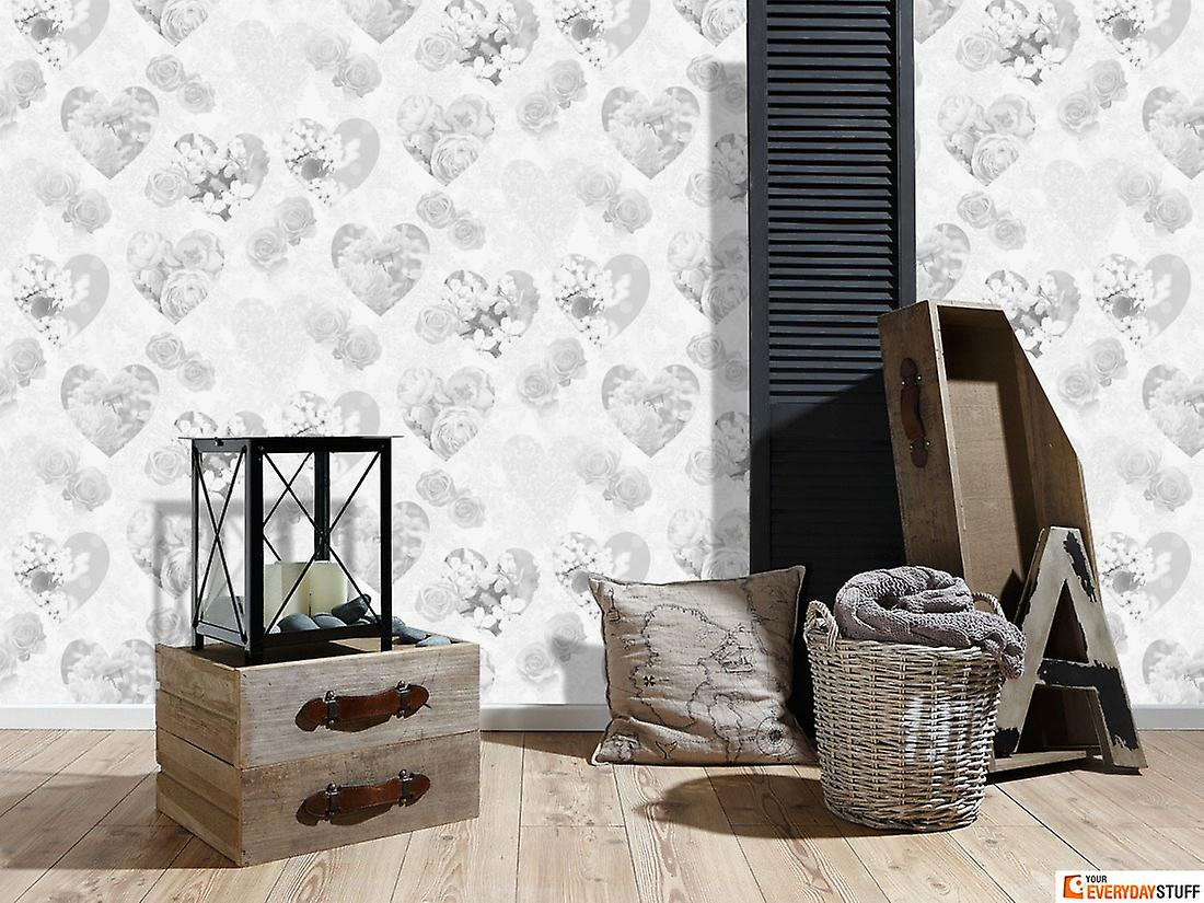 Floral Wallpaper Flowers Roses Love Hearts Novelty Luxury Heavyweight White