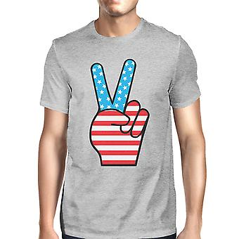 Peace Sign American Flag Mens Grey Round Neck Tee For 4th Of July