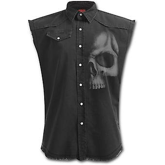 Spiral-SHADOW SKULL-Mens Stone Washed Denim Sleeveless Worker