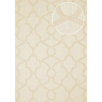 Exclusive luxury wallpaper Atlas PRI-755-5 non-woven wallpaper structured with ornaments shimmering ivory bright ivory perl white 7,035 m2