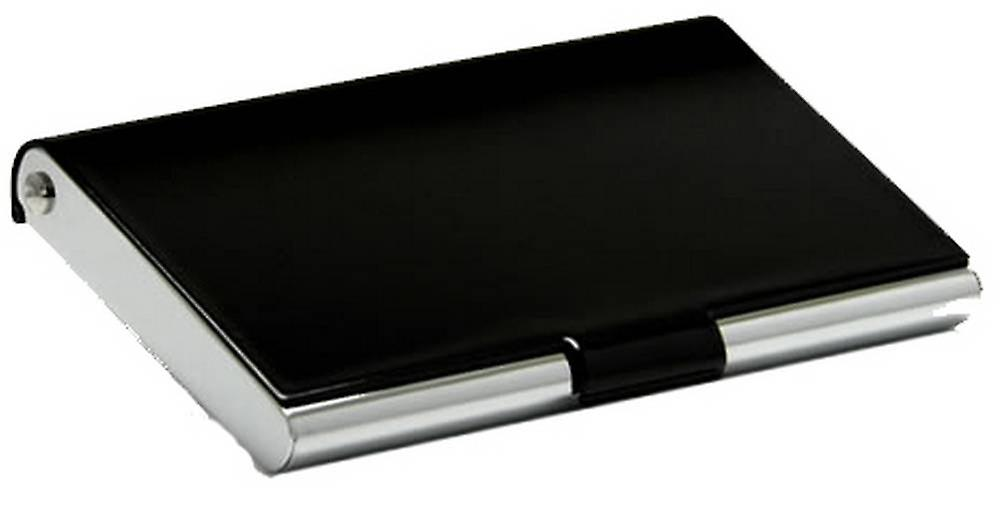 David Van Hagen Business Card Case - Black/Silver