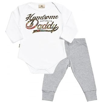 Spoilt Rotten Handsome Like Daddy Babygrow & Jersey Trousers Outfit Set