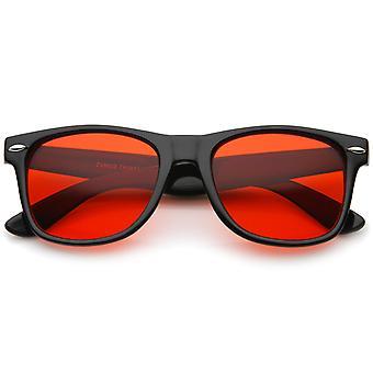Retro bred tempel farve tonet firkantede linse Horn kantede solbriller 54mm