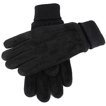 Dents Pigsuede Gloves with Knitted Cuff - Black