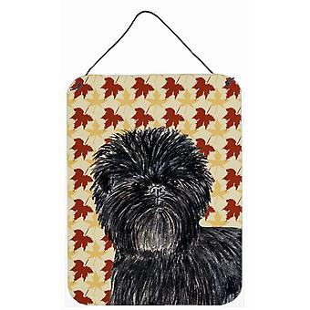 Affenpinscher Fall Leaves Portrait Aluminium Metal Wall or Door Hanging Prints