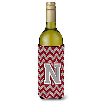 Letter N Chevron Crimson and Grey   Wine Bottle Beverage Insulator Hugger