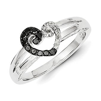 Sterling Silver Polished Prong set Open back Gift Boxed Rhodium-plated White and Black Diamond Heart Ring - Ring Size: 6