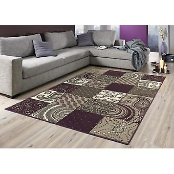 Conception velours tapis patchwork look 101727 violet