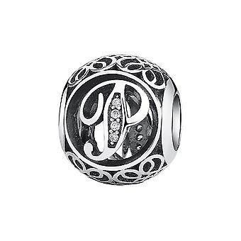 Sterling silver charm with zirconia stones letter P PSC008-P