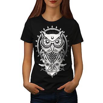 Ugle øjet Illuminati animalske kvinder sort T-shirt | Wellcoda