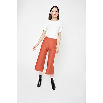 Side Party Cropped Linen Trousers