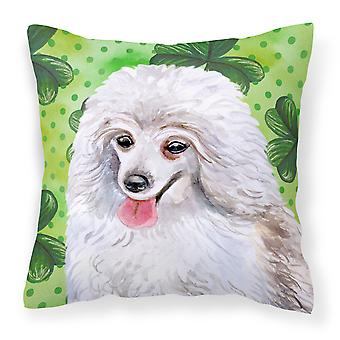 Medium White Poodle St Patrick's Fabric Decorative Pillow