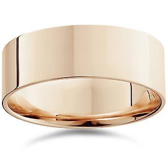 8 mm plana pulido Comfort Fit altiplano boda banda 14K anillo de oro rosa
