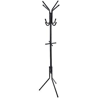 Pompano - Free Standing Metal Coat Rack With 12 Hooks - Black