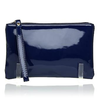 CHEEKY Navy Patent PU Leather Clutch Bag/Purse With Wrist Strap