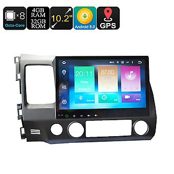 Honda 2 Din Car Media Player - 10.2 Inch Screen, 4+32GB, Android 8.0, GPS, WiFi, 3G Support, CAN BUS, Octa-Core CPU, Bluetooth