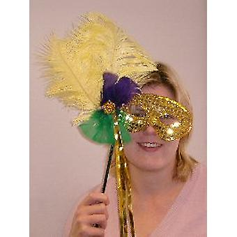 Gefiederte Maske Gold Pailletten auf Stick mit Gold Streamer (1)