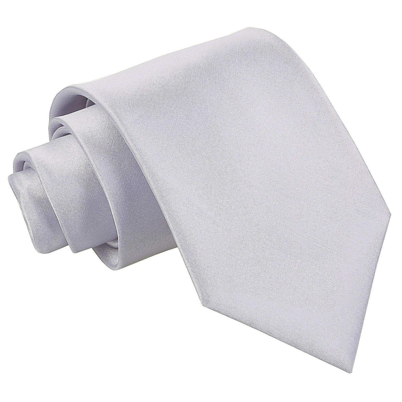 Silver Plain Satin Extra Long Tie
