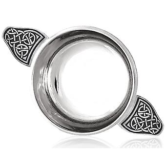 Celtic Knot Handle Pewter Quaich with Celtic Knot Band - 5