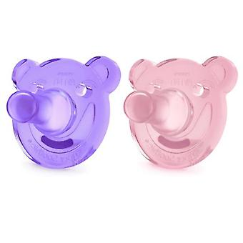 Avent Pacifiers Soothie Shapes Pink and Lilac +3m 2 units