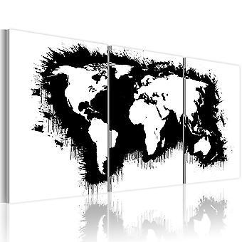 Leinwand Drucken - Weltkarte in schwarz/weiß