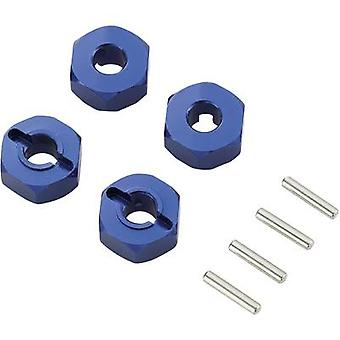 1:10 Aluminium rim hub 12 mm hexagon 6 mm Reely Blue 1 pack